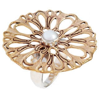 Dahlia Sterling Silver White Pearl Flower Fashion Ring