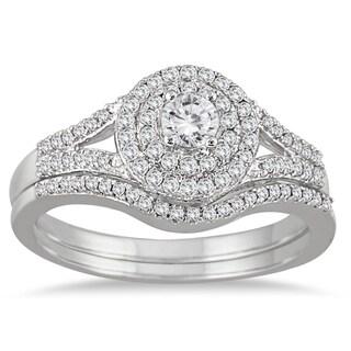 Marquee Jewels 10k White Gold 1/2ct TDW Diamond Double Halo Split Shank Bridal Ring Set (I-J, I1-I2)