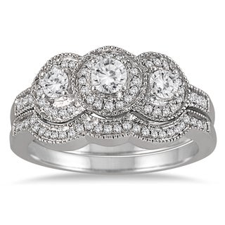 Marquee Jewels 10k White Gold 3 4ct TDW Three Stone Antique Diamond Bridal Ring Set