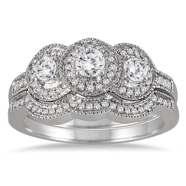 Marquee Jewels 10k White Gold 3/4ct TDW Three-stone Antique Diamond Bridal Ring Set