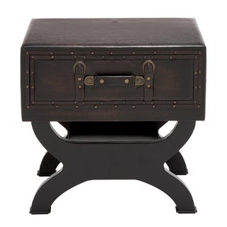 Leatherette Suitcase Accent Table