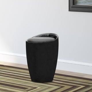 CorLiving Black Leatherette Storage Stool