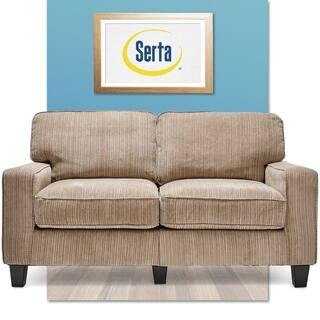 Serta Rta San Paolo Collection 61 Inch Platinum Fabric Loveseat Sofa