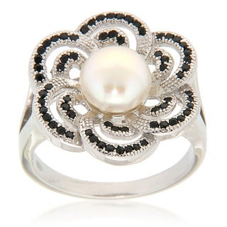 Pearlz Ocean Sterling Silver White Freshwater Pearl and Black Spinel Floral Ring (7-8 mm)