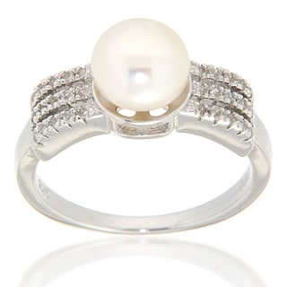 Pearlz Ocean Sterling Silver White Freshwater Pearl and White Topaz Sterling Silver Ring (7-8 mm)
