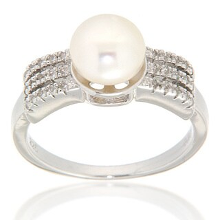 Pearlz Ocean Sterling Silver White Freshwater Pearl and White Topaz Sterling Silver Ring (7-8 mm) Jewelry for Womens