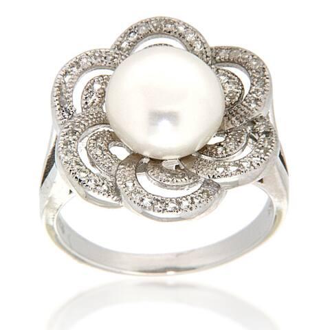 White Freshwater Pearl White Topaz Sterling Silver Ring for Women