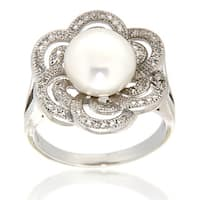 White Freshwater Pearl White Topaz Sterling Silver Ring for Women