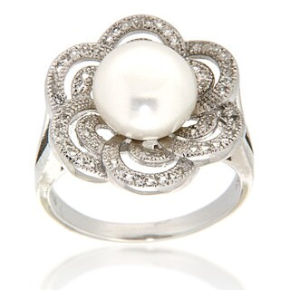 Pearlz Ocean Sterling Silver White Freshwater Pearl and White Topaz Flower Ring (9-10 mm) Jewelry for Womens