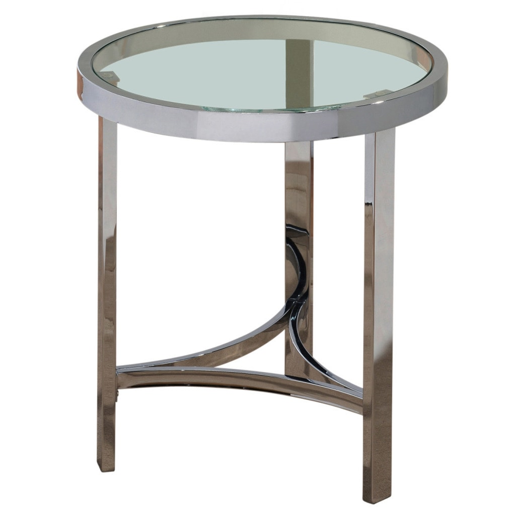 - Shop Strata 20-inch Chrome/ Glass Accent Table - On Sale