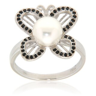 White Freshwater Pearl Black Spinel Sterling Silver Ring for Women
