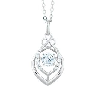 La Preciosa Sterling Silver Dancing Cubic Zirconia Pendant Necklace