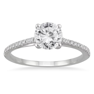 14k White Gold 1 1/6ct TDW White Diamond Cathedral Engagement Ring