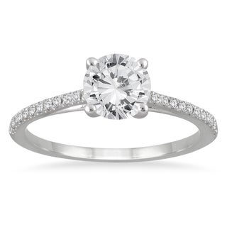 14k White Gold 1 1/6ct TDW White Diamond Cathedral Engagement Ring (3 options available)