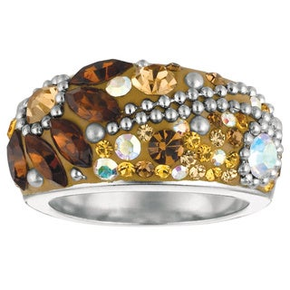 Rhodium-plated Brass Multi-colored Crystal and Topaz Ring