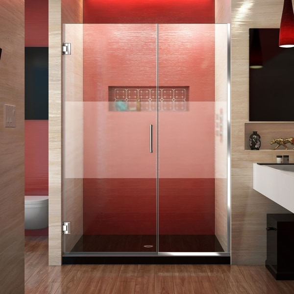 DreamLine Unidoor Plus 48-49 in. W x 72 in. H Frameless Hinged Shower Door, Frosted Band Glass