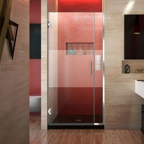 DreamLine Unidoor Plus 33-34 in. W x 72 in. H Frameless Hinged Shower Door, Frosted Band Glass