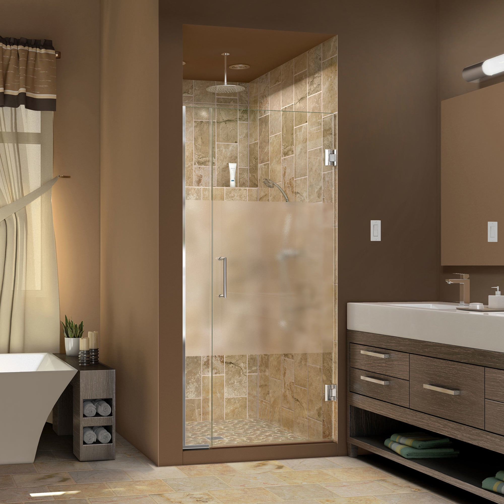 Dreamline Unidoor Plus 34 35 In W X 72 In H Hinged Shower Door Half Frosted Glass Door