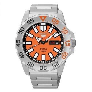 Seiko 5 Men's SRP483K1 Sports Oragen Dial Automatic Silver Watch