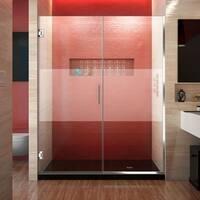 DreamLine Unidoor Plus 56 - 57 in. W x 72 in. H Hinged Shower Door, Half Frosted Glass Door
