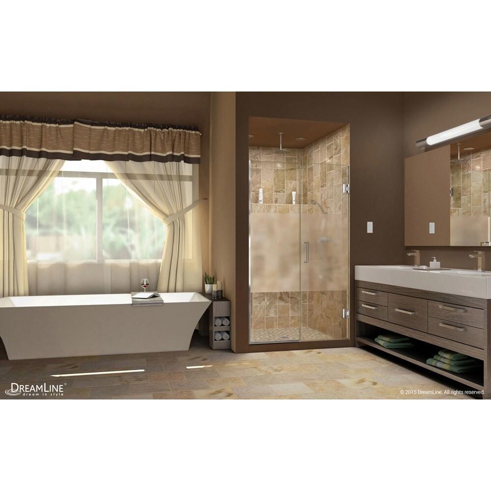 Shop Dreamline Unidoor Plus 50 51 In W X 72 In H Hinged Shower Door Half Frosted Glass Door On Sale Overstock 9160557