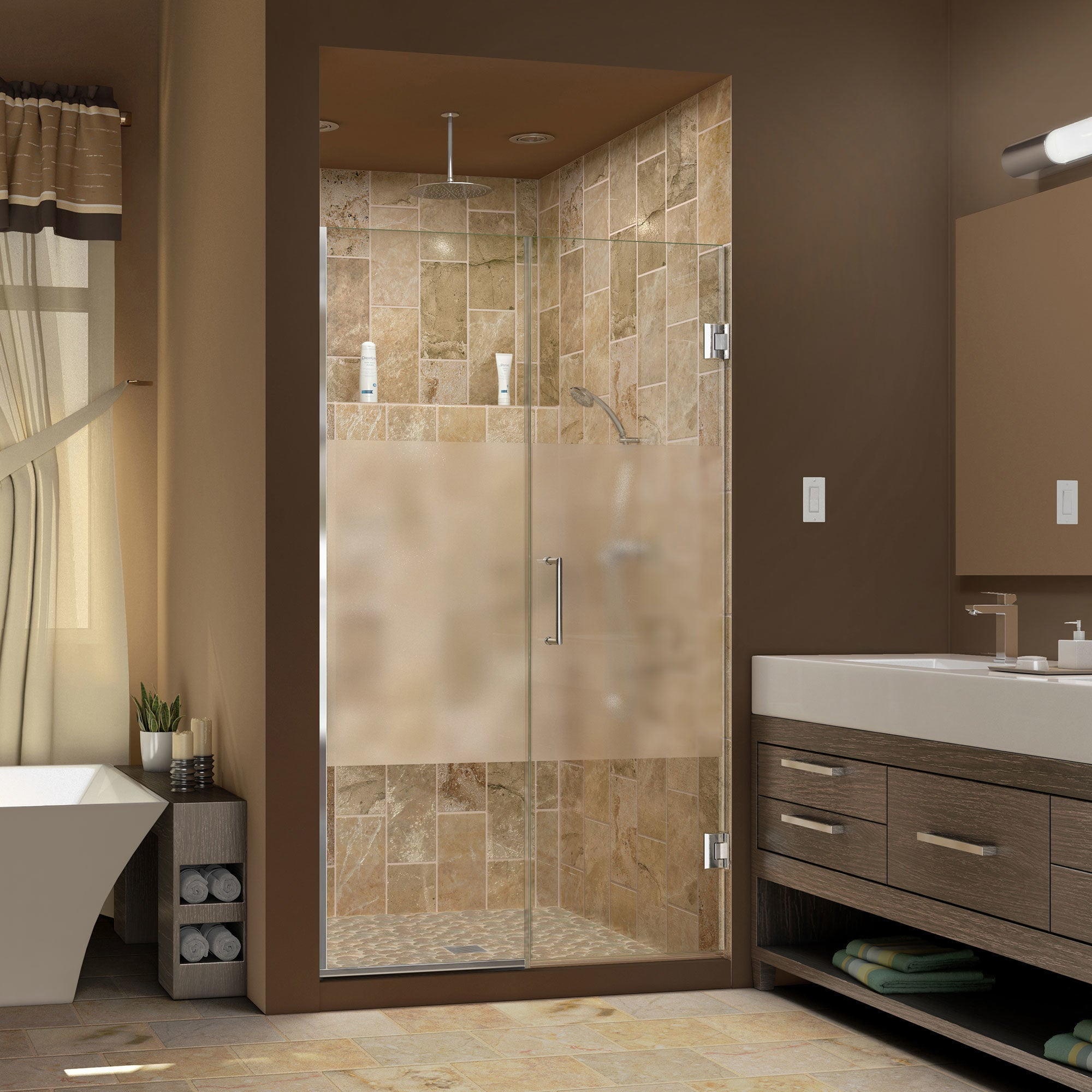 Dreamline Unidoor Plus 50 51 In W X 72 In H Hinged Shower Door Half Frosted Glass Door