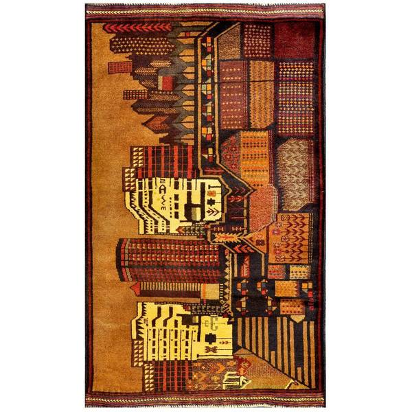 Handmade Herat Oriental Afghan 1960s Semi-antique Tribal Balouchi Wool Rug (Afghanistan) - 2'11 x 4'10