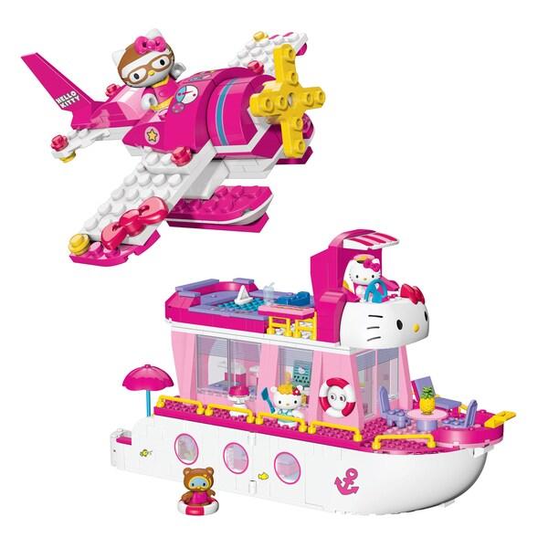 Mega Bloks Hello Kitty Cruise Ship and Airplane Playset Combo