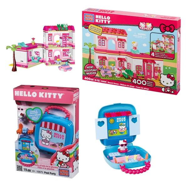 Mega Bloks Hello Kitty Pool and Beach House Playset Combo