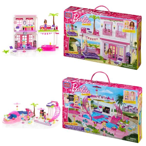 Mega Bloks Barbie Beach House and Pool Playset Combo