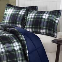 Madison Park Essentials Hartford Navy/ Green Down Alternative Comforter Mini Set