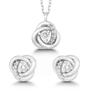 La Preciosa Sterling Silver Cubic Zirconia Love Knot Earrings and Pendant Set