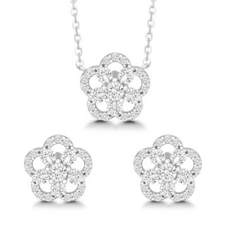 La Preciosa Sterling Silver Round-cut Cubic Zirconia Flower Earrings and Pendant Set