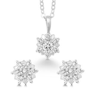 La Preciosa Sterling Silver Cubic Zirconia Earrings and Pendant Set