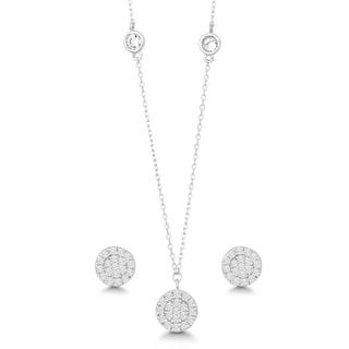 La Preciosa Sterling Silver Cubic Zirconia Circle Disc Earrings and Pendant Set