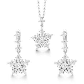La Preciosa Sterling Silver Cubic Zirconia Snowflake Pendant and Earrings Set