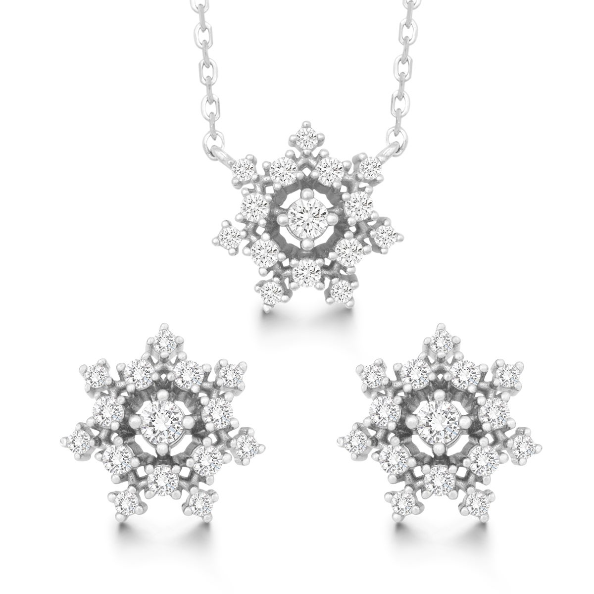 La Preciosa Sterling Silver Cubic Zirconia Snowflake Stud...