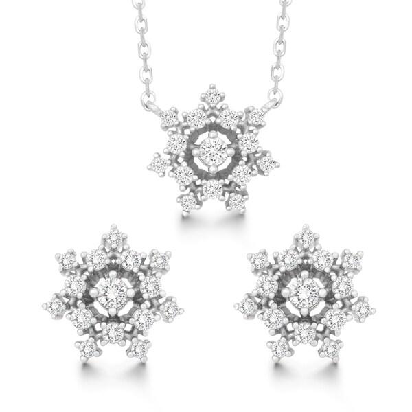 La Preciosa Sterling Silver Cubic Zirconia Snowflake Stud Earrings and Pendant Set
