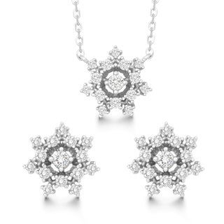 La Preciosa Sterling Silver Cubic Zirconia Snowflake Stud Earrings and Pendant Set