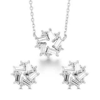 La Preciosa Sterling Silver Cubic Zirconia Baguette Earrings and Pendant Set