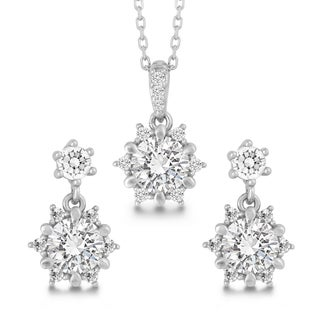 La Preciosa Sterling Silver Cubic Zirconia Pendant and Earrings Set