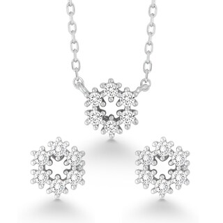 La Preciosa Sterling Silver Cubic Zirconia Circle Earrings and Pendant Set