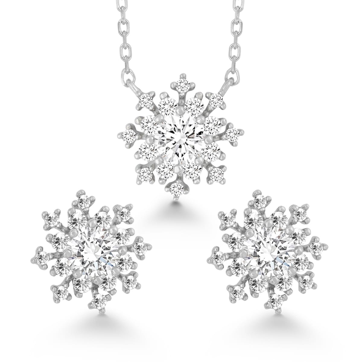 La Preciosa Sterling Silver Cubic Zirconia Snowflake Earr...