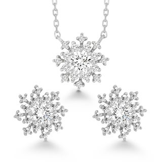 La Preciosa Sterling Silver Cubic Zirconia Snowflake Earrings and Pendant Set