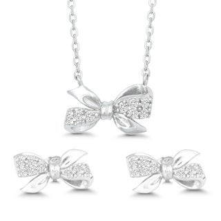 La Preciosa Sterling Silver Cubic Zirconia Twisted Bow Earrings and Pendant Set