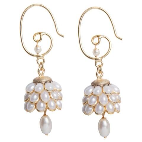 Handmade Sitara White Floral Cluster Drop Earrings (India)