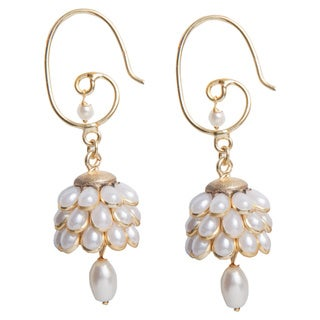 Handmade Sitara White Floral Cluster Drop Earrings (India)