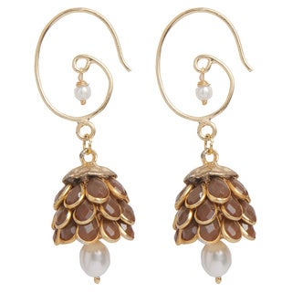 Handmade Sitara Tan Floral Cluster Drop Earrings (India)