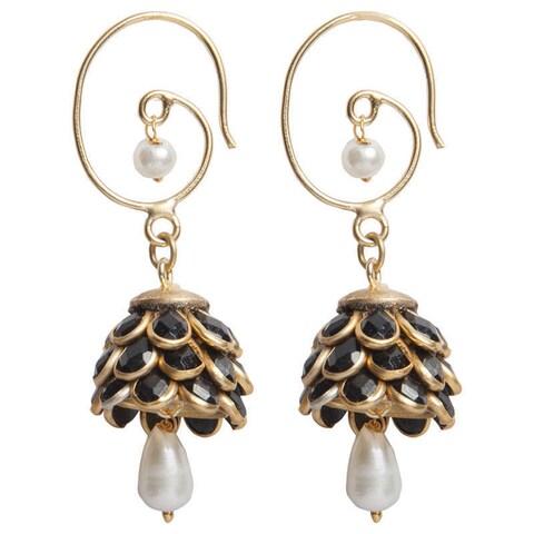 Handmade Sitara Black Floral Cluster Drop Earrings (India)