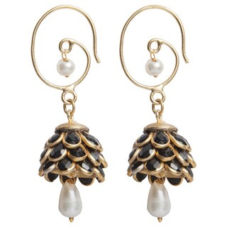 Handmade Sitara Black Floral Cluster Drop Earrings (India)